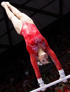 Gymanst MyKayla Skinner performs on the balance beam.