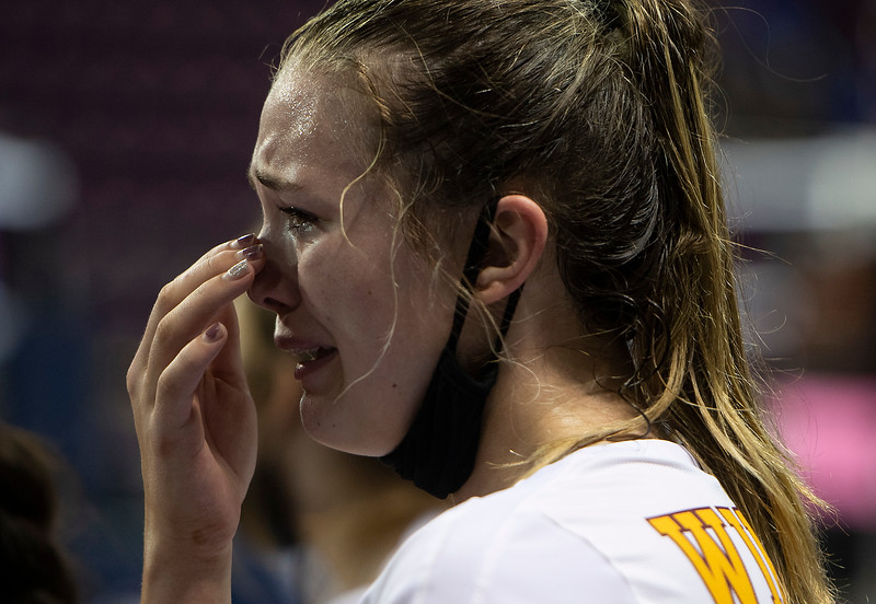Windsor's Sara Scott (8) reacts after losing to Mead in the fifth set of the semifinal game during the 4A state tournament at Broadmoor World Arena in Colorado Springs, Colo. on Thursday, May 13, 2021.