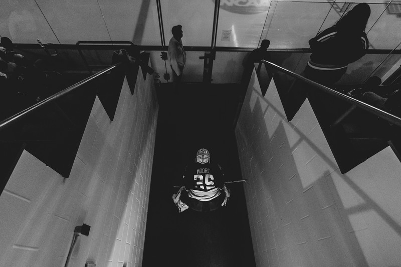 Brockport Hockey Goalie Jake Moore waiting to go out onto the ice before their game against Oswego on November 30, 2018