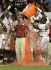 University of Alabama head coach Nick Saban gets soaked with Gatorade following Alabama's win against the University  Notre Dame during the BCS College Football Championship game in Miami, Florida USA 07 January  2013. Alabama defeated Notre Dame 42-14 in the championship game