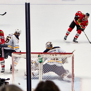He shoots, he SCORES!  Niklas Hjalmarsson skates for  a shot on goal - four of four.