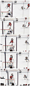 Hossa - to - Shaw Center pass sequence.