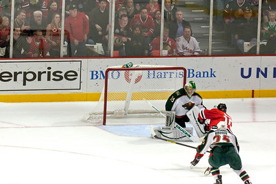 Patrick Sharp streaks toward the net on a breakaway opportunity in the second period...