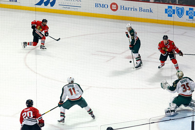 Johhy Oduya blasts a high, hard slapshot in the third period.