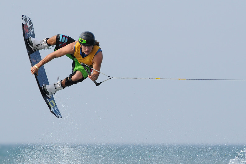 08August 2010: Pro Wakeboard rider Olivier Derome goes high for the crowd on Sunday at the 2010 Wakestock World Series, held at Millenium Park in Collingwood, Ontario.  The Men's Pro Wakeboard final winners were: 1st Place - Bob Soven, 2nd Place - Aaron Rathy (Cdn), 3rd Place - Phillip Soven. <br /> Photo Credit: Darren Eagles