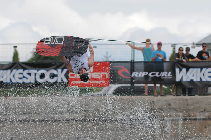 2012 Aug 10-12 - Millenium Park - Collingwood -  The Wakestock World Series wakeboard and music festival rolled into Collingwood for its annual competition and show.  Pro Wakeboard results: 1st - Harley Clifford, 2nd - Aaron Rathy (CDN), 3rd - Philip Soven.   Rider: Andrew Adkison.<br /> Photo Credit: Darren Eagles