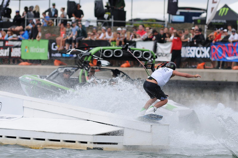 2012 Aug 10-12 - Millenium Park - Collingwood -  The Wakestock World Series wakeboard and music festival rolled into Collingwood for its annual competition and show.  Pro Wakeboard results: 1st - Harley Clifford, 2nd - Aaron Rathy (CDN), 3rd - Philip Soven.   Rider: Harley Clifford.<br /> Photo Credit: Darren Eagles