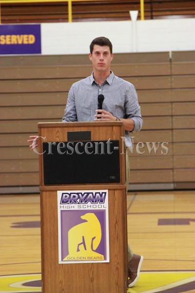 10-15-15 Sports Matt Wisler speaking @ Bryan High School