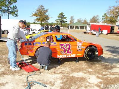 Austin Hogue's car gets a little rear end work.