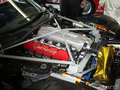 The frame is even braced on top of the engine