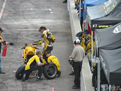 Pitstop to change tires and riders.