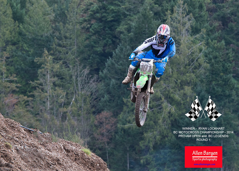 Congratulations to # 101 Ryan Lockhart, for his double win at the BC Motocross 2014 - Championship races, in the Pro-AM Open and BC Legends round 1 events.
