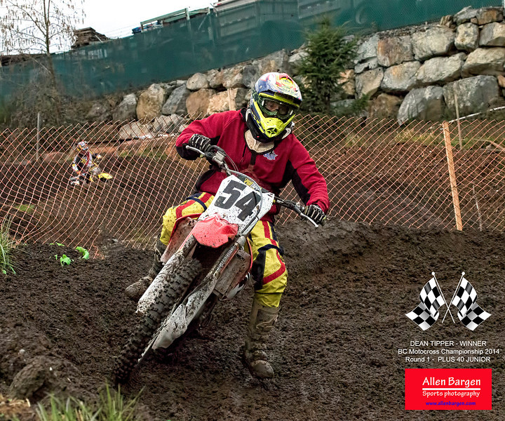 Congratulations to #54, Dean Tipper for his win at the BC Motocross 2014 - Championship races, in the Plus 40 Junior round 1 event.