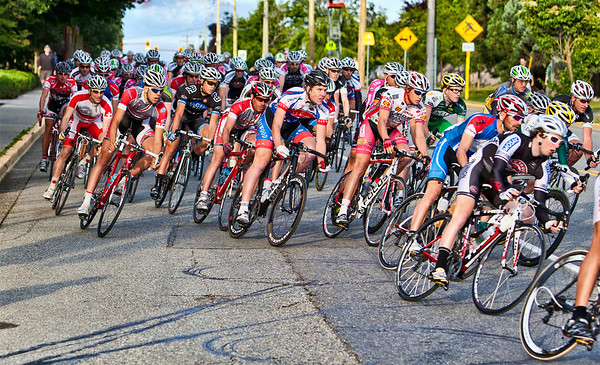 Scene from the Tour deDelta, Ladner Men's Criterium, 2011. The first turn at #1 corner was very crowded.