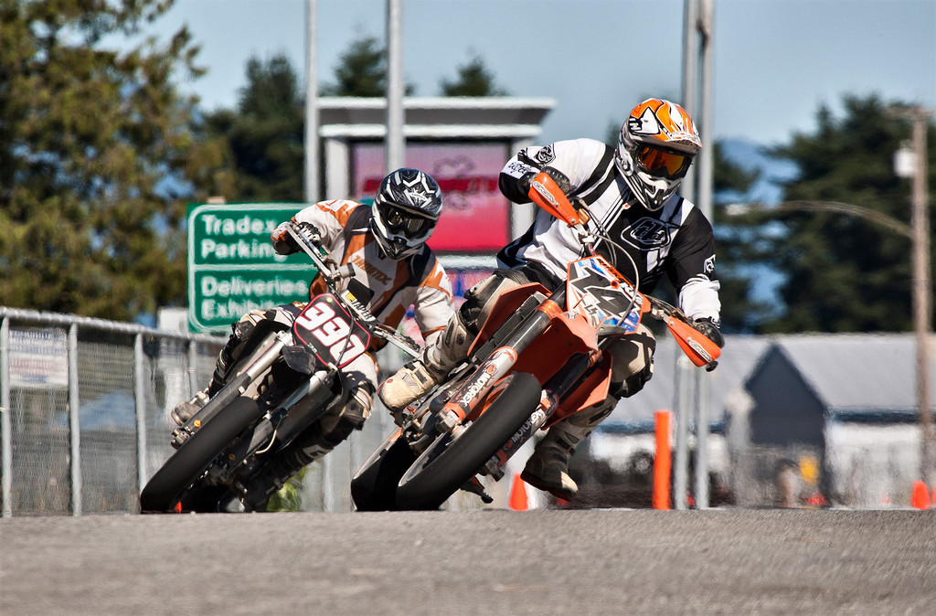 # 14 - Ryan Rusk and # 990 - Devin Arthur in a tight turn