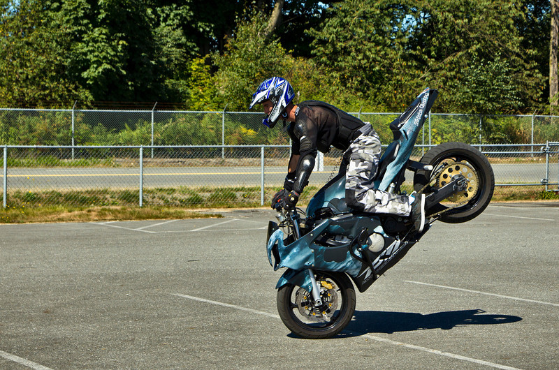 Steven does a front wheel stand in this one. Looks like the Safety is holding now!