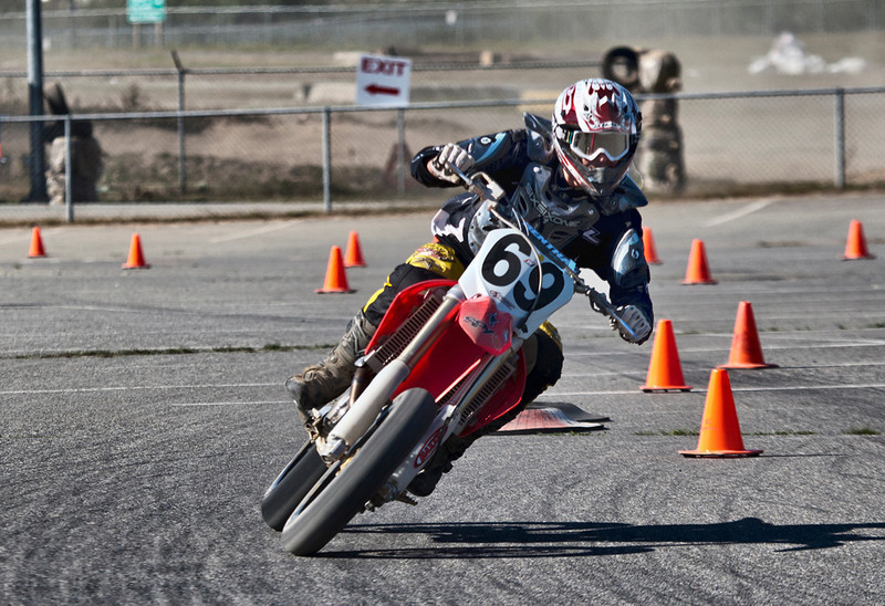 # 69 - Zoltan leans into a turn during the BC Supermoto races, April 4th, 2011