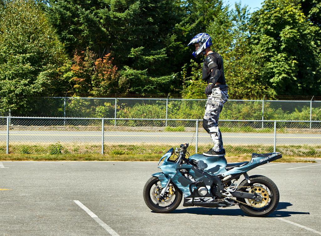 Steve Carey does a standup on his bike