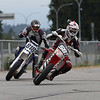 Ryan Thomas - 581 leads Jay Ridout - 818 at the final turn before the dirt section, BC Supermoto Races, Aug 19th, 2012