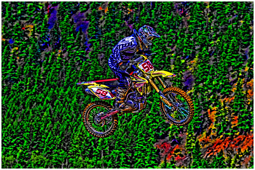This is # 58, Kyle Latter. He didn't actually look like this in the original photo, this is a result of my brain - on Photoshop, sprinkled with a liberal dose of Topaz Filters