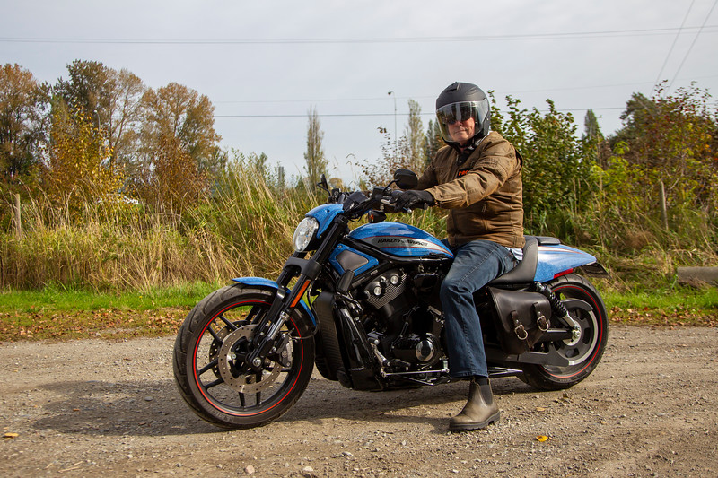 Roger Robertson, riding his Harley Davidson custom V-Rod