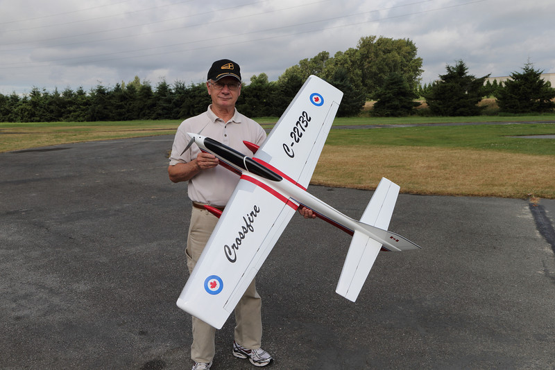Alan Resinger with his Crossfire, a self built electrically operated model aircraft built for stunt flying.