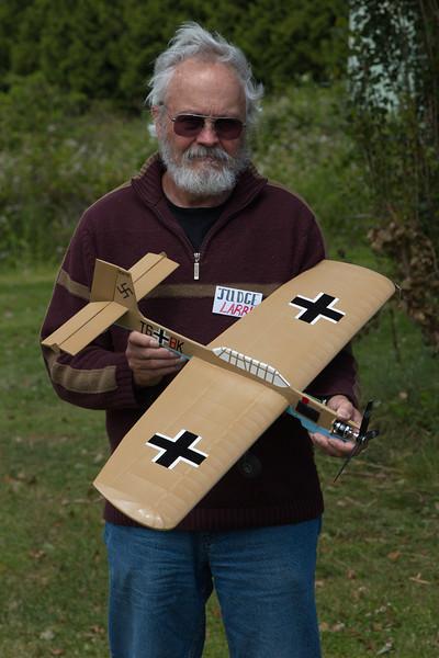 Larry L:ewin with his Stuka
