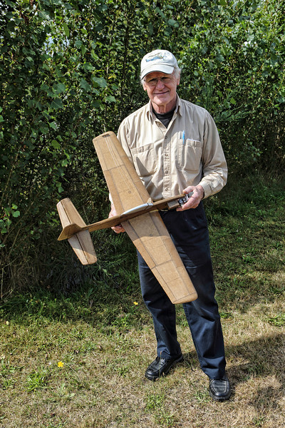 David Mccheyne and his alcohol fired T-Rex plane. Model based on a P47 aircraft.