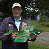 Bruce Duncan from the Vancouver Gas Model club, holding a Spitfire, bulit in 2011