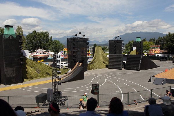 Overview of the jump area for the Evolution of Extreme Motosport show at the Pacific National Exhibition - august 2011