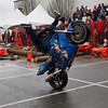 Aaron Mervyn goes legs up a the Motorcycle Show