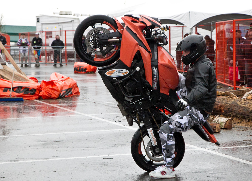 Adam Chodkowski rides with the Westcoast Freestyle Stunt Show riders. They put on an awesmoe show today at the Vancouver Motorcycle Show