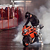 Adam Chodkowski makes lots of smoke at the Stunt event, Vanccouver Motorcylce Show, 2012