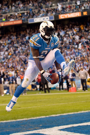 Nov 29, 2009; San Diego, CA USA; San Diego Chargers running back LaDanian Tomlinson (21) scores his second touchdown on a 3 yard run moving him into 10th place on the all time rushing list.  The San Diego Chargers defeated the Kansas City Chiefs 43-14 at Qualcomm Stadium.