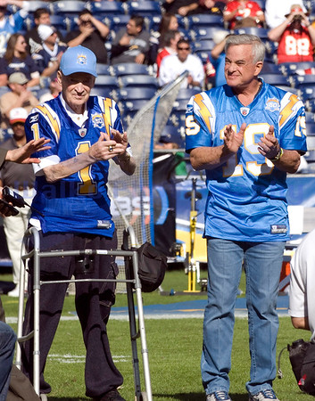 Nov 29, 2009; San Diego, CA USA; Don Coryell and Lance Allworth were honored as two of the top 50 Chargers of all time during the Chargers 50th Anniversary celebration before the game between the San Diego Chargers and the Kansas City Chiefs.