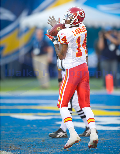 Nov 29, 2009; San Diego, CA USA; Kansas City Chiefs return man Quinten Lawrence (14) returned 5 kicks for 94 yards averaging 18.8 yards per return.  The San Diego Chargers defeated the Kansas City Chiefs 43-14 at Qualcomm Stadium.