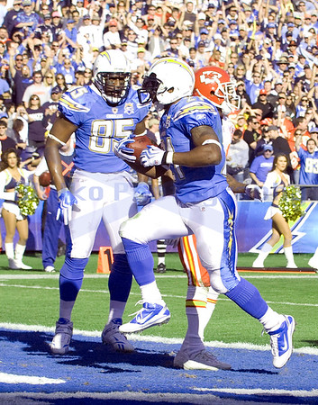 Nov 29, 2009; San Diego, CA USA; San Diego Chargers running back LaDanian Tomlinson (21) scores on a 1 yard run moving him into 10th place on the all time rushing list.  The San Diego Chargers defeated the Kansas City Chiefs 43-14 at Qualcomm Stadium.