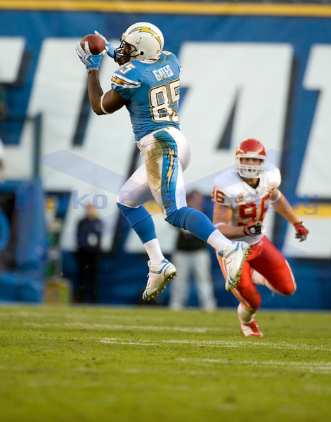 Nov 29, 2009; San Diego, CA USA; San Diego Chargers tight end Antonio Gates (85) goes up high for a reception.  Gates caught 7 passes for 118 yards and 2 touchdowns as the San Diego Chargers defeated the Kansas City Chiefs 43-14 at Qualcomm Stadium.