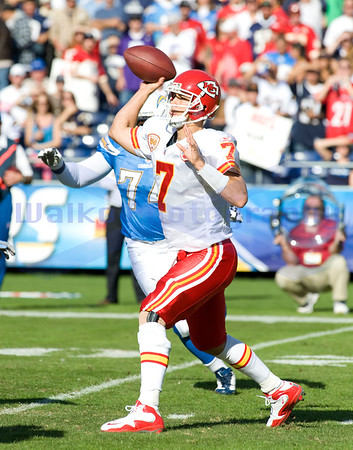 Nov 29, 2009; San Diego, CA USA; Kansas City Chiefs quarterback Matt Cassell (7) was under pressure all day completing 19 of 31 passes for 178 yards with 1 touchdown and 1 interception as the San Diego Chargers defeated the Kansas City Chiefs 43-14 at Qualcomm Stadium.