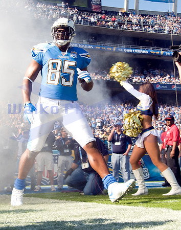 Nov 29, 2009; San Diego, CA USA;San Diego Chargers tight end Antonio Gates (85) makes his entrance celebrating the Chargers 50th Anniversary.  Gates scored 2 touchdowns on the day as the San Diego Chargers defeated the Kansas City Chiefs 43-14.