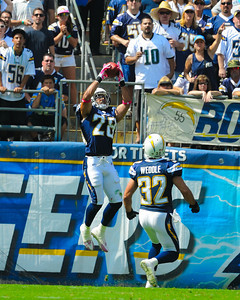 October 03, 2010, San Diego, CA, USA, San Diego Chargers strong safety Steve Gregory (28) intercepts this pass in the end zone thwarting an Arizona drive as the  the Chargers defeat the Arizona Cardinals  41-10 at Qualcomm Stadium in San Diego, California
