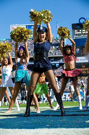 October 31, 2010, San Diego, CA, USA, San Diego Charger Girls show their Halloween spirit as the cheer the Chargers to a 33-25 win over the Tennessee Titans at Qualcomm Stadium in San Diego, California