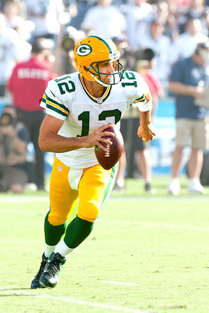 August 9, 2012; San Diego California, USA; Quarterback Aaron Rodgers of the Green Bay Packers was 2-8 for 16 yards with 1 INT as the San Diego Chargers defeat the Green Bay Packers 21-13 at Qualcomm Stadium.