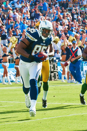 August 9, 2012; San Diego California, USA; Tight End Antonio Gates (85) of the San Diego Chargers scores a touchdown on a 23 yard pass from Phillip Rivers leading the Chargers to a 21-13 victoy over the Green Bay Packers at Qualcomm Stadium