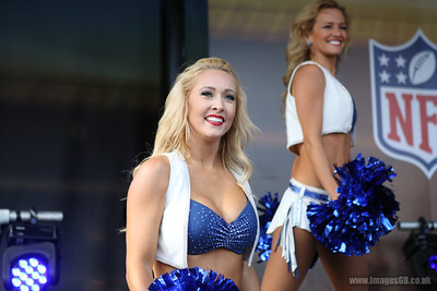 Indianapolis Colts cheerleaders perform at the backfield party  ahead of the NFL International Series match between Indianapolis Colts and Jacksonville Jaguars at Wembley Stadium on October 2, 2016