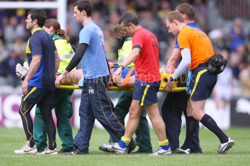 Warrington Wolves Matt King Receives treatment after being knocked out during game against Harlequins RL