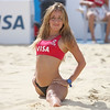 Dancers entertain the crown at Visa FIVB Beach Volleyball International