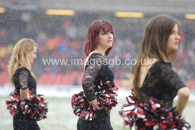 Saracens Sensation Cheerleaders during Saracens 40 v 7 Heineken cup victory of Edinburgh at Vicarage Road, Watford