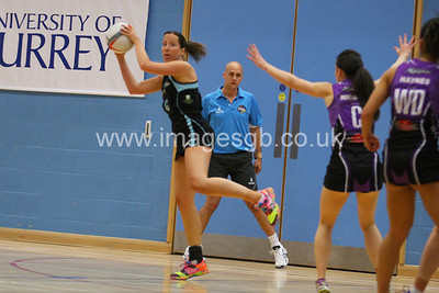 Becky Trippick during  Surrey Storms 63 v 42 win against Hertfordshire Mavericks at Surrey Sports Park on the 29 April 2013 (ImagesGB)