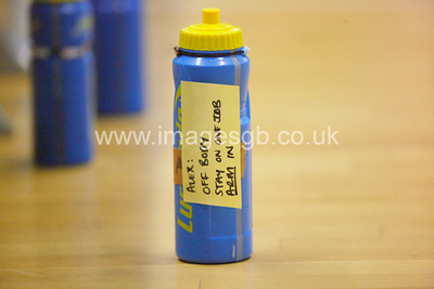 Game Instructions appear on Alex Sinclair water bottle during  Surrey Storms 65-34 win over Team Northumbria at Surrey Sports Park on the  15 March 2013 (ImagesGB)